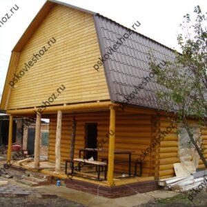 Сруб дома 4 на 6 с открытой верандой и ломаной мансардой