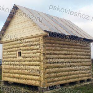 Сруб бани 4 на 5 с двускатной крышей