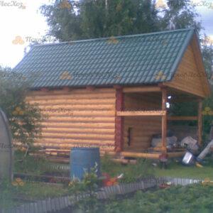 Сруб дома 5 на 6 с открытой верандой